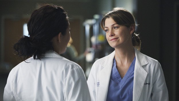 "GREY'S ANATOMY - ""Golden Hour"" - Meredith, looking to prove she is Chief Resident material, learns that anything and everything can happen in an hour's time when she steps up to run the ER for a night; meanwhile, Bailey sneaks off with Eli and gets into a little mischief, and everyone is surprised when the Chief's wife, Adele, shows up as one of the ER patients, on ""Grey's Anatomy,"" THURSDAY, FEBRUARY 17 (9:00-10:01 p.m., ET) on the ABC Television Network. (ABC/DANNY FELD)SANDRA OH, ELLEN POMPEO"