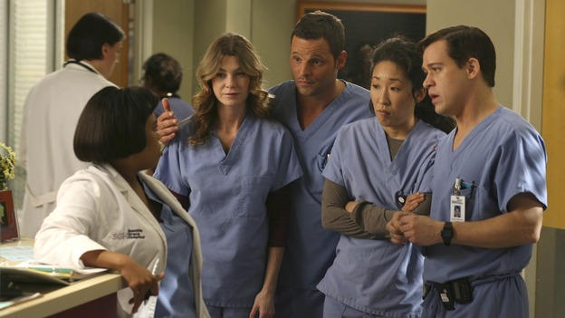 GREY'S ANATOMY - In the first hour of part two of the season finale of ABC's &quot;Grey's Anatomy&quot; -- &quot;Deterioration of the Fight or Flight Response&quot; -- Izzie and George attend to Denny as the pressure increases to find him a new heart, Cristina suddenly finds herself in charge of an ER, and Derek grapples with the realization that the life of a friend is in his hands. In the second hour, &quot;Losing My Religion,&quot; Richard goes into interrogation mode about a patient's condition, Callie confronts George about his feelings for her, and Meredith and Derek meet about Doc. Part two of the season finale of &quot;Grey's Anatomy&quot; airs MONDAY, MAY 15 (9:00-11:00 p.m., ET) on the ABC Television Network. (ABC/SCOTT GARFIELD)CHANDRA WILSON, ELLEN POMPEO, JUSTIN CHAMBERS, SANDRA OH, T.R. KNIGHT