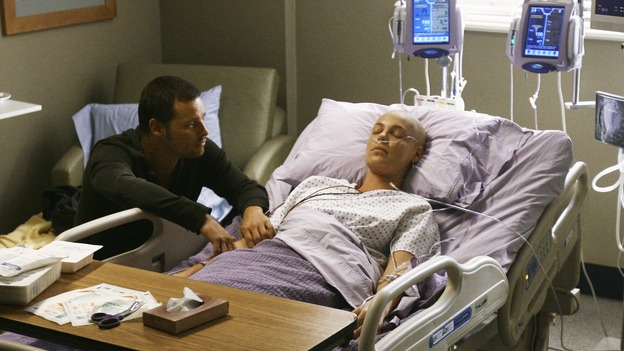 "GREY'S ANATOMY - ""Now or Never"" - Dr. Alex Karev waits desperately for his new wife, Dr. Izzie Stevens, to wake up after her brain surgery, on ""Grey's Anatomy,"" THURSDAY, MAY 14 (9:00-11:00 p.m., ET) on the ABC Television Network. JUSTIN CHAMBERS, KATHERINE HEIGL"