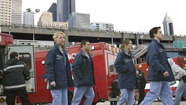GREY'S ANATOMY - &quot;Walk on Water&quot; - Beginning February 8, Grey's Anatomy enters a three-episode story arc that will challenge the interns of Seattle Grace -- and &quot;Grey's&quot; fans as well -- like never before. &quot;Walk on Water&quot; airs THURSDAY, FEBRUARY 8 (9:00-10:00 p.m., ET) on the ABC Television Network. Elizabeth Reaser (Independent Spirit Award winner for &quot;Sweet Land&quot;) guest stars as a patient over multiple episodes. (ABC/VIVIAN ZINK)KATHERINE HEIGL, JUSTIN CHAMBERS, ELLEN POMPEO, T.R. KNIGHT