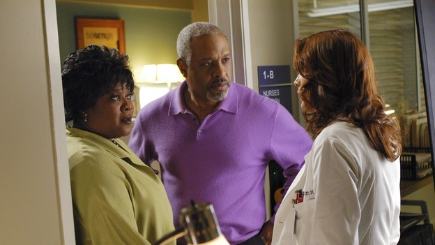 GREY'S ANATOMY - In the first hour of part two of the season finale of ABC's &quot;Grey's Anatomy&quot; -- &quot;Deterioration of the Fight or Flight Response&quot; -- Izzie and George attend to Denny as the pressure increases to find him a new heart, Cristina suddenly finds herself in charge of an ER, and Derek grapples with the realization that the life of a friend is in his hands. In the second hour, &quot;Losing My Religion,&quot; Richard goes into interrogation mode about a patient's condition, Callie confronts George about his feelings for her, and Meredith and Derek meet about Doc. Part two of the season finale of &quot;Grey's Anatomy&quot; airs MONDAY, MAY 15 (9:00-11:00 p.m., ET) on the ABC Television Network. (ABC/GALE ADLER)LORETTA DEVINE, JAMES PICKENS, JR., KATE WALSH
