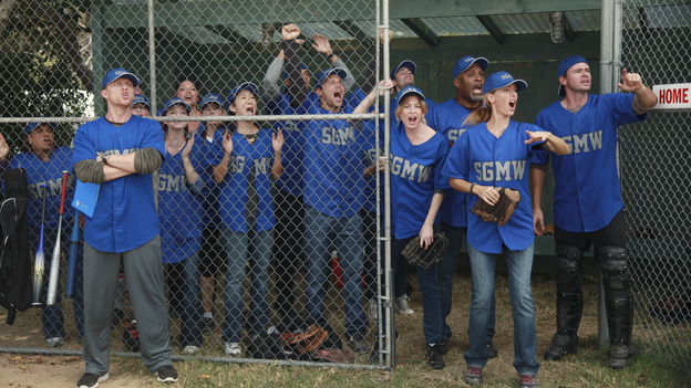 GREY'S ANATOMY - &quot;Put Me In, Coach&quot; - Owen stresses teamwork and moves his leadership role over to the baseball field when he signs the doctors up for a baseball league, pitting them against their biggest competition, Seattle Presbyterian; Lexie tries to hide her jealous rage when she sees Mark with a new woman, but her emotions get the better of her; Alex fights to keep Zola at Seattle Grace after it is suggested that she be moved to another hospital due to a conflict of interest with Meredith and Derek; and Richard scolds Meredith and Bailey for their feud, on Grey's Anatomy, THURSDAY, OCTOBER 27 (9:00-10:02 p.m., ET) on the ABC Television Network. (ABC/RICHARD CARTWRIGHT)CHANDRA WILSON, KEVIN MCKIDD, JESSICA CAPSHAW, SARAH DREW, SARA RAMIREZ, CHYLER LEIGH, SANDRA OH, JESSE WILLIAMS, JUSTIN CHAMBERS, ELLEN POMPEO, JAMES PICKENS JR., KIM RAVER, SCOTT FOLEY