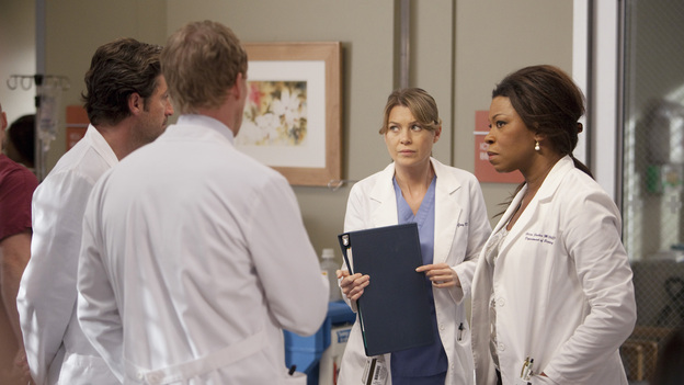 "GREY'S ANATOMY - ""The Girl with No Name"" - The doctors work on a Jane Doe, who turns out to be the subject of a case that gained national interest; Cristina proves to be the highest in demand as the residents begin their interviews for post-residency positions at prospective hospitals; and Richard is faced with an unsettling realization when he visits Adele at Rose Ridge, on ""Grey's Anatomy,"" THURSDAY, APRIL 19 (9:00-10:01 p.m., ET) on the ABC Television Network. (ABC/RANDY HOLMES)PATRICK DEMPSEY, KEVIN MCKIDD, ELLEN POMPEO, LORRAINE TOUSSAINT"
