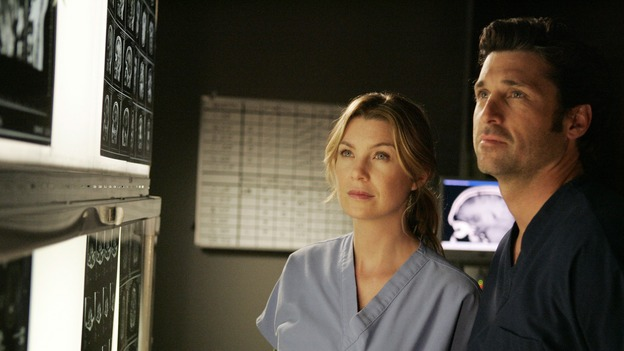 "GREY'S ANATOMY - ""The Becoming"" - The nurses' objections to McSteamy's trysts lead to the instating of a new ""date and tell"" policy. Meanwhile news of Burke's latest career achievements force Cristina to face her feelings for her ex, Meredith and Derek admit a veteran soldier into their clinical trial, and Callie turns to Sloan in her time of need, on ""Grey's Anatomy,"" THURSDAY, MAY 8 (9:00-10:02 p.m., ET) on the ABC Television Network. (ABC/VIVIAN ZINK)ELLEN POMPEO, PATRICK DEMPSEY"