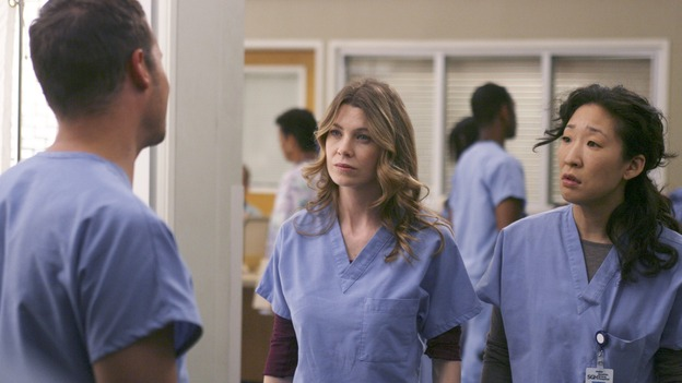 GREY'S ANATOMY - In the first hour of part two of the season finale of ABC's &quot;Grey's Anatomy&quot; -- &quot;Deterioration of the Fight or Flight Response&quot; -- Izzie and George attend to Denny as the pressure increases to find him a new heart, Cristina suddenly finds herself in charge of an ER, and Derek grapples with the realization that the life of a friend is in his hands. In the second hour, &quot;Losing My Religion,&quot; Richard goes into interrogation mode about a patient's condition, Callie confronts George about his feelings for her, and Meredith and Derek meet about Doc. Part two of the season finale of &quot;Grey's Anatomy&quot; airs MONDAY, MAY 15 (9:00-11:00 p.m., ET) on the ABC Television Network. (ABC/SCOTT GARFIELD)JUSTIN CHAMBERS, ELLEN POMPEO, SANDRA OH