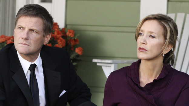 "DESPERATE HOUSEWIVES - ""We All Deserve to Die"" - Determined to derail son Preston's marriage to Irina, Lynette discovers the truth about her future daughter-in-law, on ABC's ""Desperate Housewives,"" SUNDAY, APRIL 18 (9:00-10:01 p.m., ET). Gaby offers to help out neighbors Bob and Lee in the most generous way, but does not consider the consequences; Bree begins to question Sam's motives; Susan gets creative to help Mike with his finances; and unbeknownst to Angie, Danny meets Patrick for the first time. (ABC/RON TOM) DOUG SAVANT, FELICITY HUFFMAN"