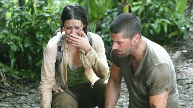 "LOST - ""All the Best Cowboys Have Daddy Issues"" - Survivors wonder why Charlie and the pregnant Claire have been abducted - and by whom -- and a search party ventures into the treacherous jungle to try to find and rescue the missing duo. Meanwhile, inner-demons about his father resurface for Jack, and Boone and Locke discover another island mystery, on ""Lost,"" WEDNESDAY, DECEMBER 8 (8:00-9:00 p.m., ET), on the ABC Television Network. (ABC/MARIO PEREZ) EVANGELINE LILLY, DOMINIC MONAGHAN, MATTHEW FOX"