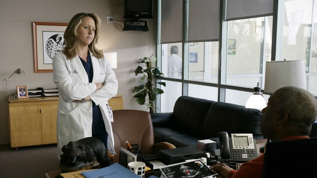 "GREY'S ANATOMY - ""Losing My Mind"" - Dr. Wyatt refuses to let Meredith give up on therapy, Alex learns the truth about Rebecca's medical condition, the Chief insists that Erica perform a risky surgery on his mentor, and after receiving news of Burke, Cristina continues to do things contrary to her nature, going so far as cleaning her always-messy apartment, on ""Grey's Anatomy,"" THURSDAY, MAY 15 (9:00-10:02 p.m., ET) on the ABC Television Network. (ABC/MITCH HADDAD)BROOKE SMITH, JAMES PICKENS JR."