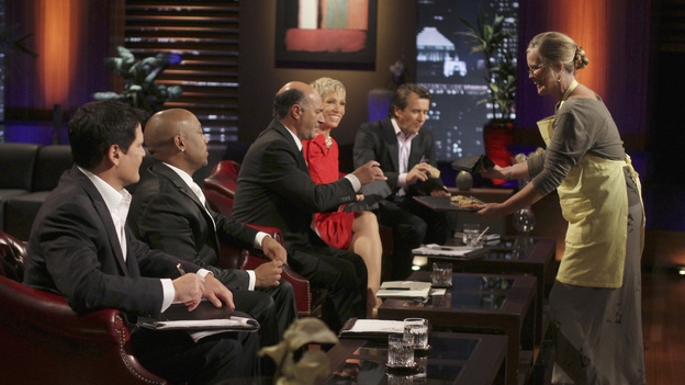 "SHARK TANK - ""Episode 306"" - It becomes obvious to the Sharks that three ice cream makers from Old Lyme, CT don't have much money sense when pitching their beer-infused flavored ice cream. A man from Englewood, CO brings his dog along to demonstrate how his pre-packaged meals for pets work. It gets loud when two women from Los Angeles, CA hope the Sharks will gear up to make a deal with their line of protective safety wear for motorcycle enthusiasts. A young, street-smart entrepreneur from Venice, CA wants the Sharks to go into his clothing business that allows people to digitally put images on any garment, turning it into wearable art. Also, a follow-up on Randy & Darryl Lanz from Peachtree City, Georgia and their Ride On Carry On luggage attachment, which Barbara invested in during Season 2, on ""Shark Tank,"" FRIDAY, MARCH 23 (8:00-9:01 p.m., ET) on the ABC Television Network. (ABC/MICHAEL ANSELL)MARK CUBAN, DAYMOND JOHN, KEVIN O'LEARY, BARBARA CORCORAN, ROBERT HERJAVEC"