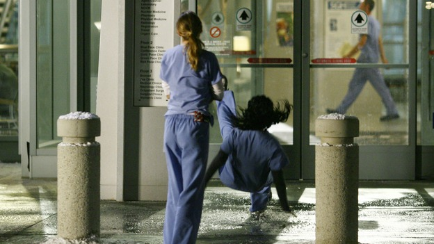 "GREY'S ANATOMY - ""Dream a Little Dream of Me"" - On the two-hour season premiere of ""Grey's Anatomy,"" Meredith and Derek learn that ""happily ever after"" isn't easy, a military doctor who brings in a trauma patient catches Cristina's eye, and the Chief and his staff reel at the news that Seattle Grace is no longer nationally ranked as a top-tier teaching hospital, on ""Grey's Anatomy,"" THURSDAY, SEPTEMBER 25 (9:00-11:00 p.m., ET) on the ABC Television Network. (ABC/SCOTT GARFIELD)ELLEN POMPEO, SANDRA OH"