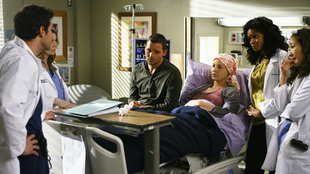 "GREY'S ANATOMY - ""Here's to Future Days"" - Dr. Derek Shepherd lays out his plan for removing the cancer that is in Izzie's brain, on ""Grey's Anatomy,"" THURSDAY, MAY 14 (9:00-11:00 p.m., ET) on the ABC Television Network. PATRICK DEMPSEY, ELLEN POMPEO, JUSTIN CHAMBERS, KATHERINE HEIGL, KIMBERLY ELISE, SANDRA OH"