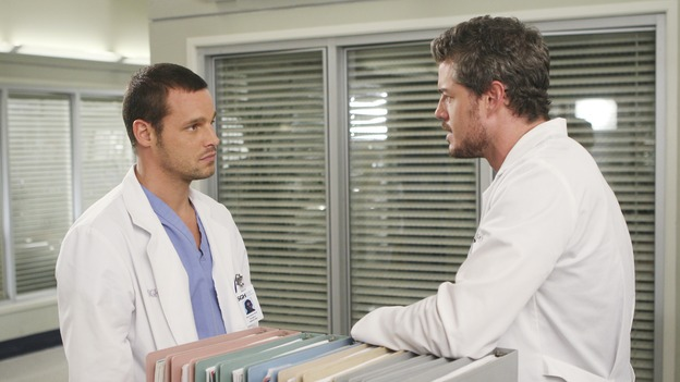 "GREY'S ANATOMY - ""Six Days"" - After a successful operation on his heart, George's father undergoes surgery for his cancer, Thatcher Grey visits Seattle Grace in order to see his new granddaughter, and Meredith discovers that Derek has trouble sleeping soundly, on ""Grey's Anatomy,"" THURSDAY, JANUARY 4 (9:00-10:01 p.m., ET) on the ABC Television Network. (ABC/MICHAEL DESMOND)JUSTIN CHAMBERS, ERIC DANE"