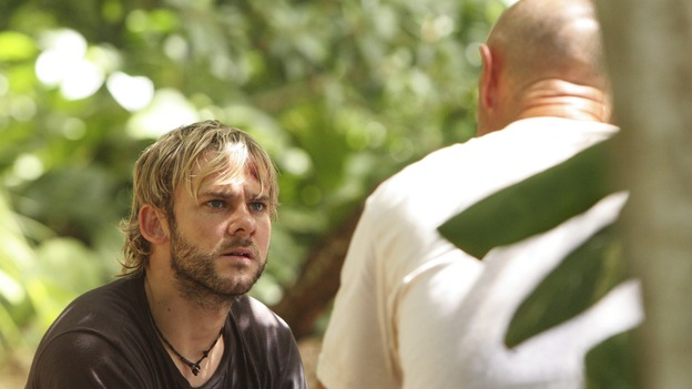 "LOST - ""Everybody Hates Hugo"" - Disturbing memories from Hurley's past cause him to struggle with a task he's assigned inside the hatch. Meanwhile Sawyer, Michael and Jin discover the identities of their captors, and Claire uncovers a shocking piece of information about the fate of the raft, on ""Lost,"" WEDNESDAY, OCTOBER 12 (9:00-10:00 p.m., ET), on the ABC Television Network. (ABC/MARIO PEREZ) DOMINIC MONAGHAN, TERRY O'QUINN"