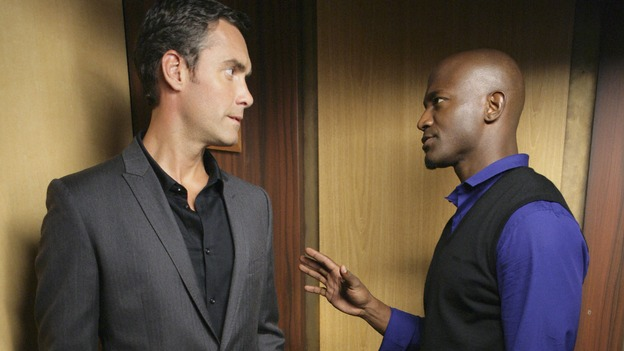 PRIVATE PRACTICE - &quot;Worlds Apart&quot; - Pete's girlfriend, Meg, returns to Los Angeles and notices that Pete and Violet are considerably closer; Kevin questions the direction he and Addison are headed in as a couple; Cooper treats a young diabetic boy with a mysterious past; and Charlotte and her team of Pacific Wellcare doctors continue to siphon business away from Oceanside Wellness, on &quot;Private Practice,&quot; WEDNESDAY, DECEMBER 17 (9:00-10:01 p.m., ET) on the ABC Television Network. (ABC/ADAM TAYLOR)JAY HARRINGTON, TAYE DIGGS