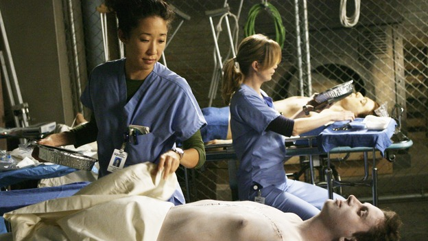 "GREY'S ANATOMY - ""Rise Up"" - Meredith and Cristina practice on cadavers that Lexie found, on ""Grey's Anatomy,"" THURSDAY, NOVEMBER 6 (9:00-10:01 p.m., ET) on the ABC Television Network. (ABC/SCOTT GARFIELD) SANDRA OH, ELLEN POMPEO"