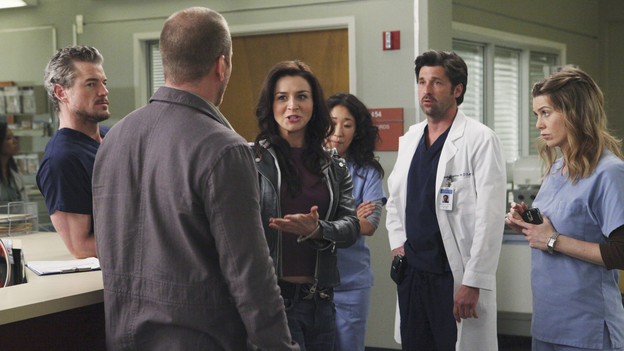 "GREY'S ANATOMY - ""Superfreak"" - When Derek receives an unexpected and unwelcome visit from his estranged sister, Amelia, issues between the siblings -- both past and present -- come to the surface; the Chief tries to help Alex when he notices that he's refusing to use the elevators after his near-fatal shooting; and Meredith and Derek continue their efforts to ease Cristina back into surgery after her post-traumatic stress, on ""Grey's Anatomy,"" THURSDAY, OCTOBER 7 (9:00-10:01 p.m., ET) on the ABC Television Network. (ABC/RICHARD CARTWRIGHT)ERIC DANE, SEAN CARRIGAN, CATERINA SCORSONE, SANDRA OH, PATRICK DEMPSEY, ELLEN POMPEO"