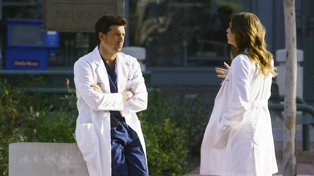 "GREY'S ANATOMY - ""Not Good at Saying Sorry (One More Chance)"" - Derek and Meredith argue about the Chief with Meredith saying that if he's at the wedding, she won't be, on ""Grey's Anatomy,"" THURSDAY, APRIL 30 (9:00-10:02 p.m., ET) on the ABC Television Network. (ABC/SCOTT GARFIELD) PATRICK DEMPSEY, ELLEN POMPEO"