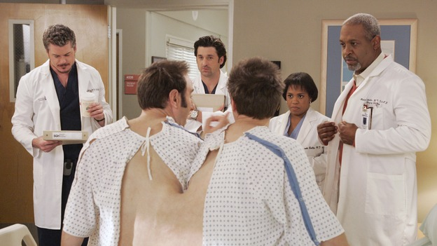 "GREY'S ANATOMY - ""Don't Stand So Close to Me"" - Recent events strain Burke and Cristina's relationship, Meredith's half-sister, Molly, is admitted to the hospital, and Mark and Sloan must work together when two close-knit brothers seek medical help, on ""Grey's Anatomy,"" THURSDAY, NOVEMBER 30 (9:00-10:01 p.m., ET) on the ABC Television Network. (ABC/VIVIAN ZINK)ERIC DANE, RANDY SKLAR, PATRICK DEMPSEY, JASON SKLAR, CHANDRA WILSON, JAMES PICKENS, JR."