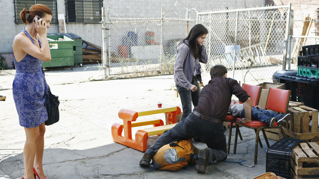 "PRIVATE PRACTICE - ""Pushing the Limits"" - Addison, Sam and Cooper treat the sick child of a homeless teen mother they met while volunteering. Meanwhile Violet has trouble relating to her baby when her feelings about her attack resurface during counseling of a rape victim who is now pregnant, and Cooper's financial woes catch up with him when he's asked to help buy out Naomi's share of the practice, on ""Private Practice,"" THURSDAY, OCTOBER 22 (10:01-11:00 p.m., ET) on the ABC Television Network. (ABC/ADAM LARKEY)KATE WALSH, LUCY HALE, PAUL ADELSTEIN"