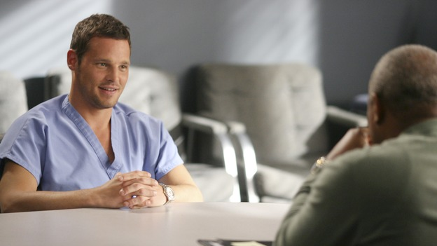 "GREY'S ANATOMY - In the first hour of part two of the season finale of ABC's ""Grey's Anatomy"" -- ""Deterioration of the Fight or Flight Response"" -- Izzie and George attend to Denny as the pressure increases to find him a new heart, Cristina suddenly finds herself in charge of an ER, and Derek grapples with the realization that the life of a friend is in his hands. In the second hour, ""Losing My Religion,"" Richard goes into interrogation mode about a patient's condition, Callie confronts George about his feelings for her, and Meredith and Derek meet about Doc. Part two of the season finale of ""Grey's Anatomy"" airs MONDAY, MAY 15 (9:00-11:00 p.m., ET) on the ABC Television Network. (ABC/SCOTT GARFIELD)JUSTIN CHAMBERS, JAMES PICKENS, JR."