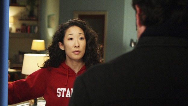 GREY'S ANATOMY - &quot;Stairway to Heaven&quot; - Derek begs Cristina to speak to an inconsolable Meredith, on &quot;Grey's Anatomy,&quot; THURSDAY, JANUARY 22 (9:00-10:01 p.m., ET) on the ABC Television Network. (ABC/CRAIG SJODIN) SANDRA OH, PATRICK DEMPSEY