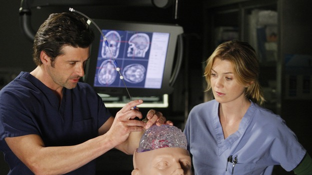 GREY'S ANATOMY - &quot;The Becoming&quot; - The nurses' objections to McSteamy's trysts lead to the instating of a new &quot;date and tell&quot; policy. Meanwhile news of Burke's latest career achievements force Cristina to face her feelings for her ex, Meredith and Derek admit a veteran soldier into their clinical trial, and Callie turns to Sloan in her time of need, on &quot;Grey's Anatomy,&quot; THURSDAY, MAY 8 (9:00-10:02 p.m., ET) on the ABC Television Network. (ABC/VIVIAN ZINK)PATRICK DEMPSEY, ELLEN POMPEO