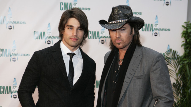 "THE 42ND ANNUAL CMA AWARDS - ARRIVALS - ""The 42nd Annual CMA Awards"" will be broadcast live from the Sommet Center in Nashville, WEDNESDAY, NOVEMBER 12 (8:00-11:00 p.m., ET) on the ABC Television Network. (ABC/ADAM LARKEY)JUSTIN GASTON, BILLY RAY CYRUS"