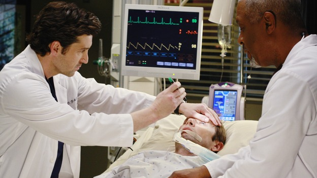 "GREY'S ANATOMY - ""Before and After"" - Derek and the Chief examine Addison's brother, Archer, on ""Grey's Anatomy,"" THURSDAY, FEBRUARY 12 (9:00-10:02 p.m., ET) on the ABC Television Network. (ABC/RON TOM) PATRICK DEMPSEY, GRANT SHOW, JAMES PICKENS JR."
