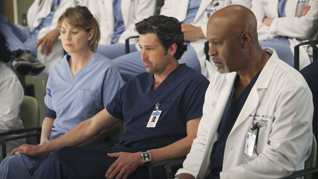 "GREY'S ANATOMY - ""Disarm"" - News of the incoming mass causalities after a gunman opens fire at a local college hits the staff hard when they must spring into action, even while their own wounds are still fresh; and Arizona does not receive a warm welcome home at the hospital, on ""Grey's Anatomy,"" THURSDAY, JANUARY 6 (9:00-10:01 p.m., ET) on the ABC Television Network. (ABC/ADAM LARKEY)ELLEN POMPEO, PATRICK DEMPSEY, JAMES PICKENS JR."