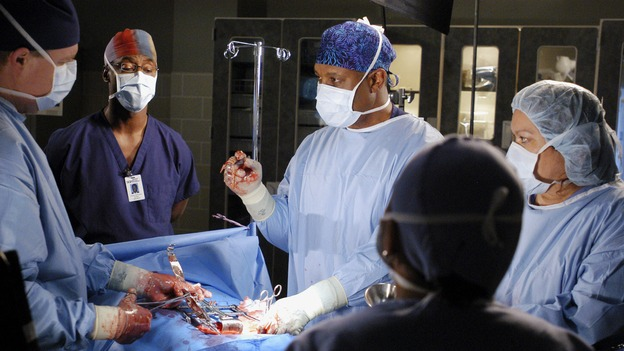 GREY'S ANATOMY - &quot;Desire&quot; - As the interns of Seattle Grace cram for their upcoming exam, the attendings vie for the Chief's position by tending to the chairman of the hospital board after he's admitted as a patient. Meanwhile, Burke struggles to involve Cristina in the wedding planning, things heat up between Addison and Alex, and Derek questions his relationship with Meredith, on &quot;Grey's Anatomy,&quot; THURSDAY, APRIL 26 (9:00-10:01 p.m., ET) on the ABC Television Network. (ABC/GALE ADLER)ISAIAH WASHINGTON, JAMES PICKENS, JR.