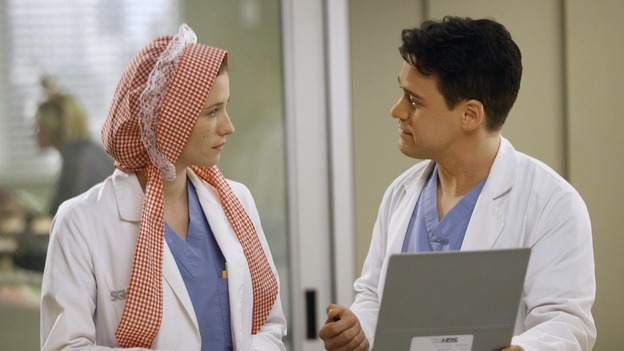 "GREY'S ANATOMY - ""Haunt You Every Day"" - It's Halloween, and the day is full of surprises for the doctors of Seattle Grace - Alex receives an unexpected and welcome visit from his former patient, Ava/Rebecca, Meredith is convinced that her mother's ashes are haunting her, Cristina is snubbed by a surgeon she admires, and Callie announces George and Izzie's affair to their fellow doctors, on ""Grey's Anatomy,"" THURSDAY, OCTOBER 25 (9:00-10:02 p.m., ET) on the ABC Television Network. (ABC/SCOTT GARFIELD)CHYLER LEIGH, T.R. KNIGHT"