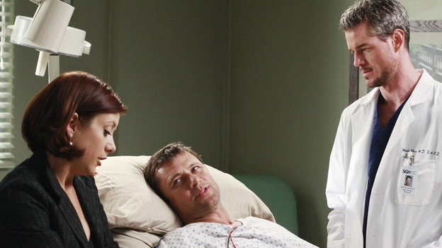 "GREY'S ANATOMY - ""Before and After"" - Mark comes to check on Archer and Addison, on ""Grey's Anatomy,"" THURSDAY, FEBRUARY 12 (9:00-10:02 p.m., ET) on the ABC Television Network. (ABC/RON TOM) KATE WALSH, GRANT SHOW, ERIC DANE, AUDRA MCDONALD"