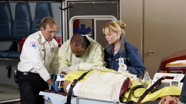 "GREY'S ANATOMY - ""Drowning on Dry Land"" - ""Grey's Anatomy's"" three-episode story arc continues with a part two that will challenge the interns of Seattle Grace -- and ""Grey's"" fans as well -- like never before, THURSDAY, FEBRUARY 15 (9:00-10:01 p.m., ET) on the ABC Television Network. Elizabeth Reaser (Independent Spirit Award nominee for ""Sweet Land"") guest stars as a patient over multiple episodes. (ABC/CRAIG SJODIN)JAMES PICKENS, JR., KATHERINE HEIGL"