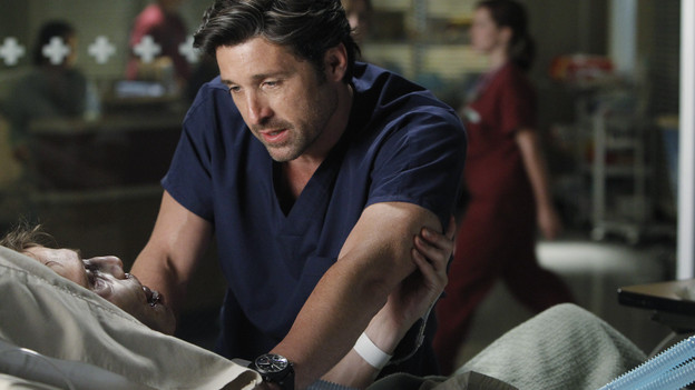 "GREY'S ANATOMY - ""With You I'm Born Again"" -- After an unforgettable and heart-pounding season finale, ""Grey's Anatomy"" returns for its seventh season on THURSDAY, SEPTEMBER 23 (9:00-10:01 p.m., ET) on the ABC Television Network. In the season premiere, the hospital staff is trying to deal with physical and emotional trauma in the wake of the deadly rampage of a vengeful gunman. As Dr. Perkins (James Tupper), a trauma counselor, is brought in to help in the recovery and to assess each doctor's readiness to return to work, Derek makes a spontaneous decision to resign as Chief and rushes back into surgery, taking everything a little too fast, and Cristina buries herself in her wedding planning. (ABC/PETER ""HOPPER"" STONE)MATTHEW FAHEY, PATRICK DEMPSEY"
