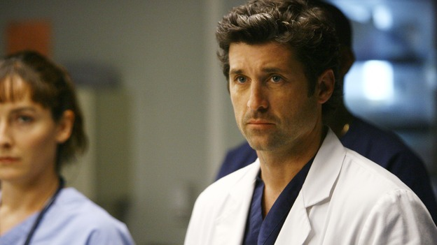 "GREY'S ANATOMY - ""Dream a Little Dream of Me"" - On the two-hour season premiere of ""Grey's Anatomy,"" Meredith and Derek learn that ""happily ever after"" isn't easy, a military doctor who brings in a trauma patient catches Cristina's eye, and the Chief and his staff reel at the news that Seattle Grace is no longer nationally ranked as a top-tier teaching hospital, on ""Grey's Anatomy,"" THURSDAY, SEPTEMBER 25 (9:00-11:00 p.m., ET) on the ABC Television Network. (ABC/SCOTT GARFIELD)PATRICK DEMPSEY"