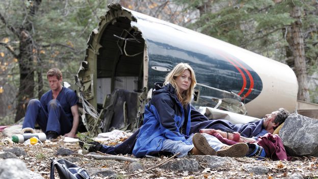 "GREY'S ANATOMY - ""Flight"" - Faced with a life threatening situation, the doctors must fight to stay alive while trying to save the lives of their peers; Bailey and Ben make a decision regarding their relationship; and Teddy is presented with a tempting offer. Meanwhile, Richard plans a special dinner for the residents, on the Season Finale of ""Grey's Anatomy,"" THURSDAY, MAY 17 (9:00-10:01 p.m., ET) on the ABC Television Network. (ABC/CRAIG SJODIN)ERIC DANE, ELLEN POMPEO, PATRICK DEMPSEY"