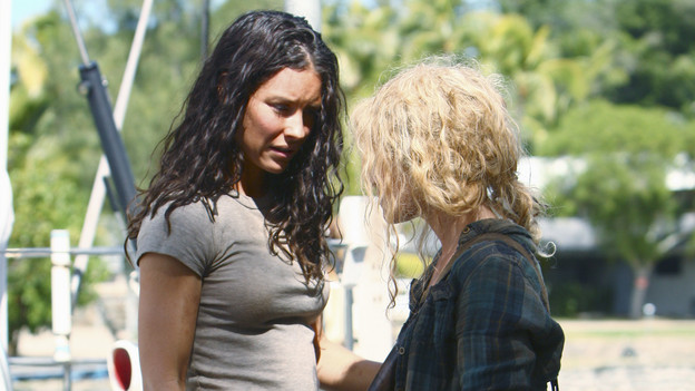 "LOST - ""The Last Recruit"" - Alliances are forged and broken as the Locke and Jack camps merge, on ""Lost,"" TUESDAY, APRIL 20 (9:00-10:02 p.m., ET) on the ABC Television Network. (ABC/MARIO PEREZ) EVANGELINE LILLY, EMILIE DE RAVIN"