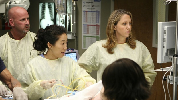 "GREY'S ANATOMY - ""Freedom"" - On the two-hour season finale of ""Grey's Anatomy,"" Meredith and Derek have one last shot at a successful outcome in their clinical trial, as the other surgeons work together to free a boy from a hardening block of cement. Meanwhile, Izzie helps Alex care for an ailing Rebecca, and Lexie discovers critical information about George's intern status, on ""Grey's Anatomy,"" THURSDAY, MAY 22 (9:00-11:00 p.m., ET) on the ABC Television Network. (ABC/MICHAEL DESMOND)SANDRA OH, BROOKE SMITH, CHANDRA WILSON"