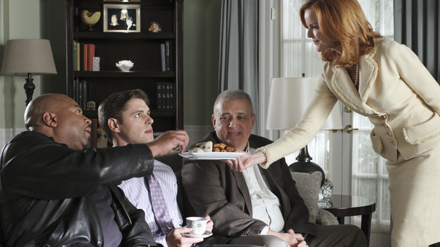 "DESPERATE HOUSEWIVES - ""The Ballad of Booth"" - Lynette comes to a shocking realization about Eddie on ABC's ""Desperate Housewives,"" SUNDAY, MAY 9 (9:00-10:01 p.m., ET). Meanwhile, Angie discreetly relies on Gaby for help when Patrick threatens the life of her son; Bree offers Sam a generous payoff to walk away; and Susan and Mike's financial woes result in the ultimate sacrifice. (ABC/RON TOM)DAVID REIVERS, SAM PAGE, VIC POLIZOS, MARCIA CROSS"