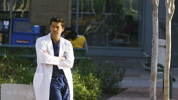 "GREY'S ANATOMY - ""Not Good at Saying Sorry (One More Chance)"" - Dr. Derek Shepherd, on ""Grey's Anatomy,"" THURSDAY, APRIL 30 (9:00-10:02 p.m., ET) on the ABC Television Network. (ABC/SCOTT GARFIELD) PATRICK DEMPSEY"