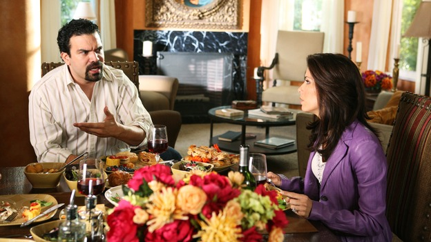 DESPERATE HOUSEWIVES - &quot;Thank You So Much&quot; - Edie thinks that Karl is going to pop the question, but he's really trying to marry Susan, Carlos learns more about the fractured relationship between Gabrielle and her mother, Lucia (guest star Maria Conchita Alonso), and Lynette learns the extent of Bree's problem with alcohol, on &quot;Desperate Housewives,&quot; SUNDAY, FEBRUARY 19 (9:00-10:00 p.m., ET) on the ABC Television Network. (ABC/DANNY FELD)RICARDO ANTONIO CHAVIRA, EVA LONGORIA