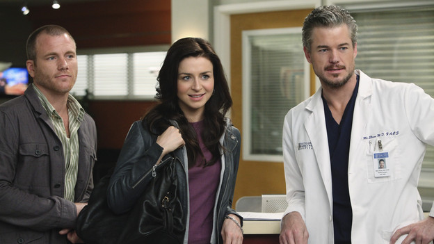 "GREY'S ANATOMY - ""Superfreak"" - When Derek receives an unexpected and unwelcome visit from his estranged sister, Amelia, issues between the siblings -- both past and present -- come to the surface; the Chief tries to help Alex when he notices that he's refusing to use the elevators after his near-fatal shooting; and Meredith and Derek continue their efforts to ease Cristina back into surgery after her post-traumatic stress, on ""Grey's Anatomy,"" THURSDAY, OCTOBER 7 (9:00-10:01 p.m., ET) on the ABC Television Network. (ABC/RICHARD CARTWRIGHT)SEAN CARRIGAN, CATERINA SCORSONE, ERIC DANE"