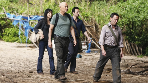 "LOST - ""Follow the Leader"" - Jack and Kate find themselves at odds over the direction to take to save their fellow island survivors, Locke further solidifies his stance as leader of ""The Others,"" and Sawyer and Juliet come under scrutiny from the Dharma Initiative, on ""Lost,"" WEDNESDAY, MAY 6 (9:00-10:02 p.m., ET) on the ABC Television Network.  (ABC/MARIO PEREZ)YUNJIN KIM, TERRY O'QUINN, NESTOR CARBONELL, MICHAEL EMERSON"