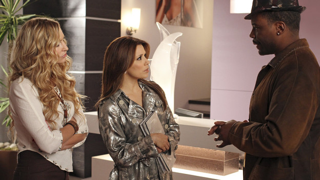 "DESPERATE HOUSEWIVES - ""Chromolume #7"" - Gaby and Angie head to New York in search of Danny and Ana, on ABC's ""Desperate Housewives,"" SUNDAY, MARCH 14 (9:00-10:01 p.m., ET). While in the Big Apple, a chance encounter with supermodels Heidi Klum and Paulina Porizkova leads Gaby to an unexpected revelation about herself. Meanwhile, Lynette and Tom are in for a big surprise when Preston returns from Europe; Mike is determined to show Susan what a man he is after feeling emasculated; Bree discovers a shocking connection to her new employee, Sam; and Katherine is confused over her feelings for Robin. (ABC/RON TOM) DREA DE MATEO, EVA LONGORIA PARKER, JONATHAN ADAMS"