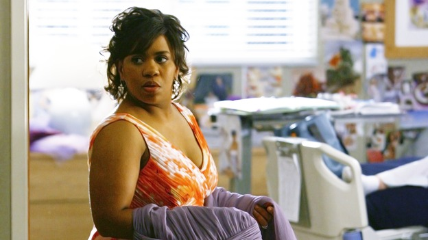 "GREY'S ANATOMY - ""What a Difference a Day Makes"" - Bailey shows off the dress she's going to wear to the wedding, on ""Grey's Anatomy,"" THURSDAY, MAY 7 (9:00-10:02 p.m., ET) on the ABC Television Network. (ABC/SCOTT GARFIELD) CHANDRA WILSON"