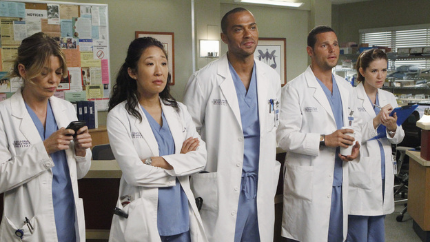 "GREY'S ANATOMY - ""Take the Lead"" - The Chief makes a career-changing decision that shocks Seattle Grace Hospital; Cristina and Owen try to find normalcy in their relationship; April continues to struggle in her new role; and the 5th year residents are given their first solo surgeries, only to find out that even the most routine procedures aren't always easy, on Grey's Anatomy, THURSDAY, SEPTEMBER 29 (9:00-10:02 p.m., ET) on the ABC Television Network. (ABC/JORDIN ALTHAUS)ELLEN POMPEO, SANDRA OH, JESSE WILLIAMS, JUSTIN CHAMBERS, SARAH DREW"