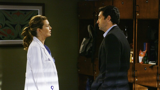 "GREY'S ANATOMY - ""Now or Never"" - Drs. Meredith Grey and Derek Shepherd discuss how they may never have the time to get married, on ""Grey's Anatomy,"" THURSDAY, MAY 14 (9:00-11:00 p.m., ET) on the ABC Television Network. ELLEN POMPEO, PATRICK DEMPSEY"