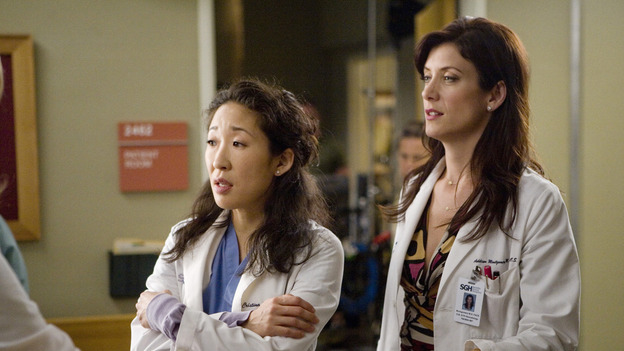 "GREY'S ANATOMY - ""Piece of My Heart"" - Addison returns to Seattle Grace to perform an operation and is taken aback by all of the changes in her old co-workers' lives. Meanwhile Meredith and Derek's clinical trial has its first patient, and Rebecca/Ava returns with shocking news for Alex, on ""Grey's Anatomy,"" THURSDAY, MAY 1 (9:00-10:01 p.m., ET) on the ABC Television Network.  (ABC/RANDY HOLMES)SANDRA OH, KATE WALSH"