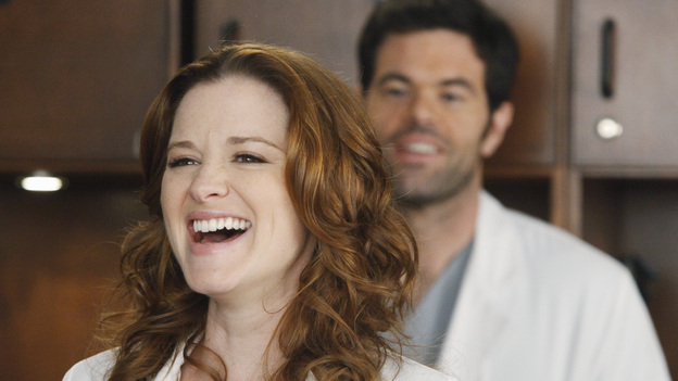 "GREY'S ANATOMY - ""If/Then"" - As Meredith puts Zola to bed and falls asleep, she begins to wonder -- what if her mother had never had Alzheimer's and she'd had loving, supportive parents? The reverberations of a happy Meredith Grey change the world of Seattle Grace as we know it. What if she had never met Derek in that bar and he had never separated from Addison? What if Callie and Owen had become a couple long before she met Arizona? And what if Bailey never evolved from the meek intern she once was? ""Grey's Anatomy"" airs THURSDAY, FEBRUARY 2 (9:00-10:02 p.m., ET) on the ABC Television Network. (ABC/VIVIAN ZINK)SARAH DREW, ROBERT BAKER"