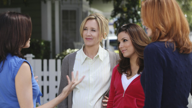 "DESPERATE HOUSEWIVES - ""I Guess This is Goodbye"" - As the season's mysteries are resolved, new ones emerge on the explosive Season Finale of ABC's ""Desperate Housewives,"" SUNDAY, MAY 16 (9:00-10:01 p.m., ET). Gaby risks her safety to help Angie; Lynette's fate and that of her unborn child lie in the hands of Eddie; Susan comes to grips with her financial woes; Bree considers confessing a secret she's harbored for years; and Angie must submit to Patrick's demands in order to protect her son. (ABC/DANNY FELD)TERI HATCHER, FELICITY HUFFMAN, EVA LONGORIA PARKER, MARCIA CROSS"